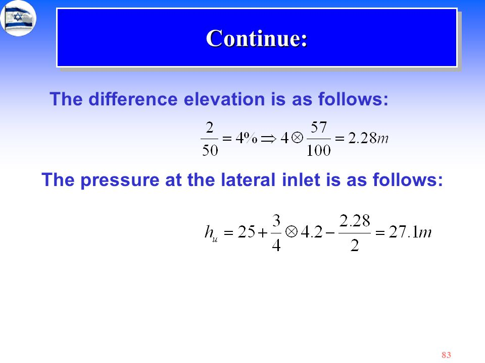 Continue: The difference elevation is as follows: