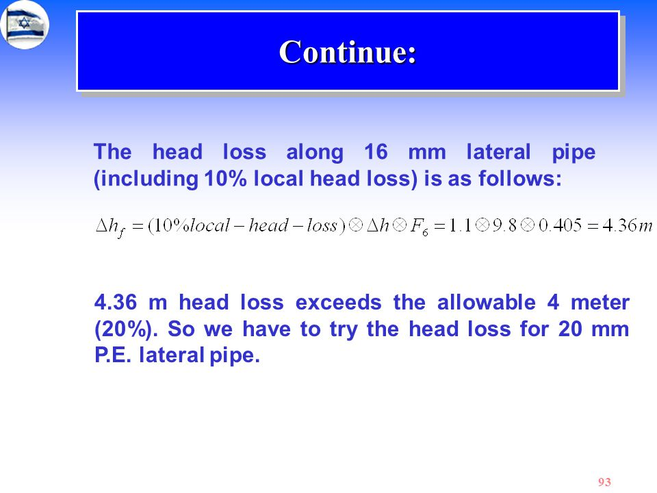 Continue: The head loss along 16 mm lateral pipe (including 10% local head loss) is as follows: