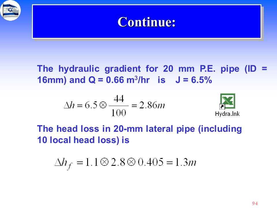 Continue: The hydraulic gradient for 20 mm P.E. pipe (ID = 16mm) and Q = 0.66 m3/hr is J = 6.5%
