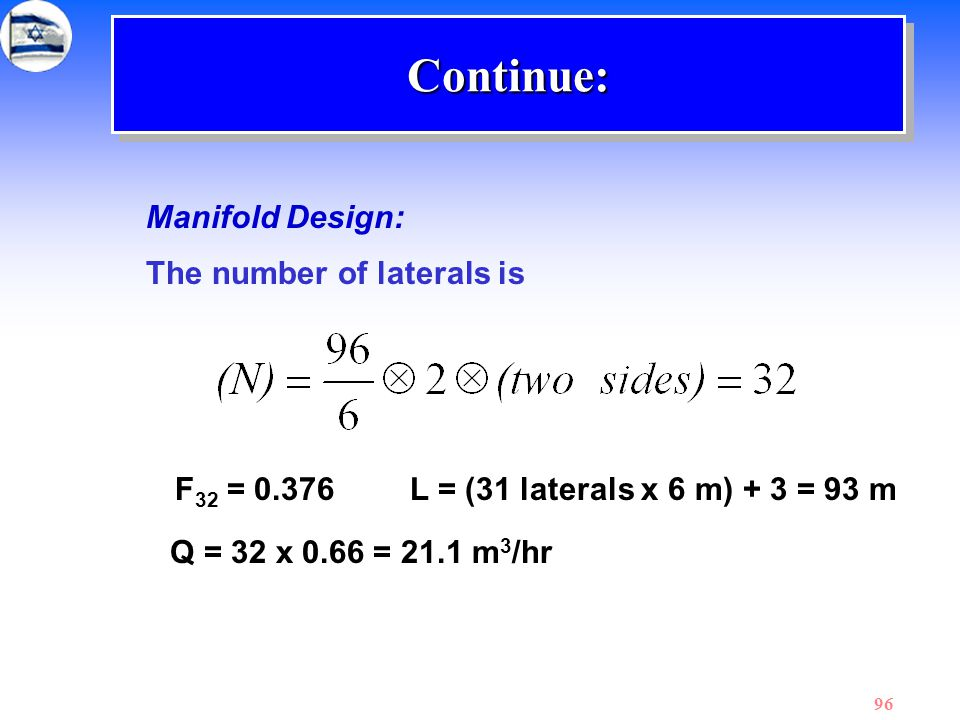 Continue: Manifold Design: The number of laterals is