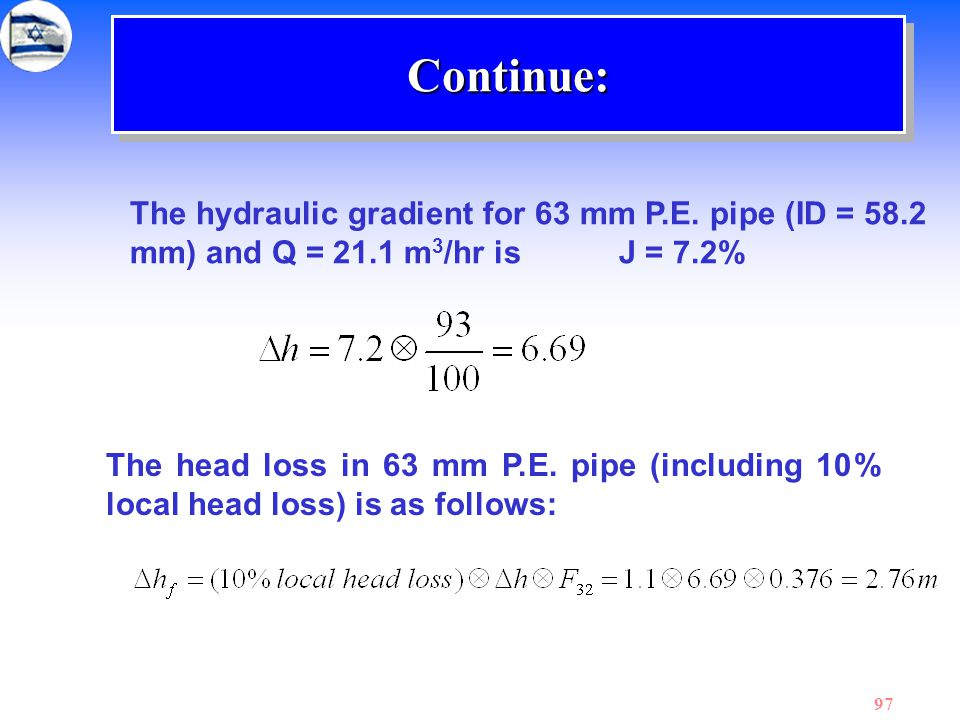 Continue: The hydraulic gradient for 63 mm P.E. pipe (ID = 58.2 mm) and Q = 21.1 m3/hr is J = 7.2%
