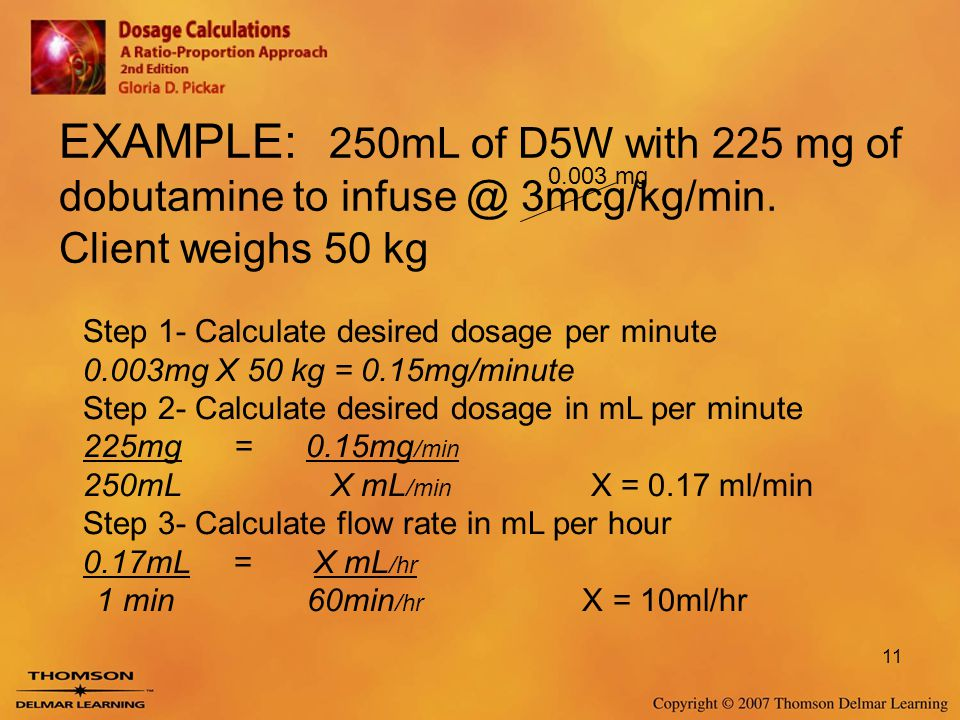 EXAMPLE: 250mL of D5W with 225 mg of dobutamine to infuse @ 3mcg/kg/min. Client weighs 50 kg