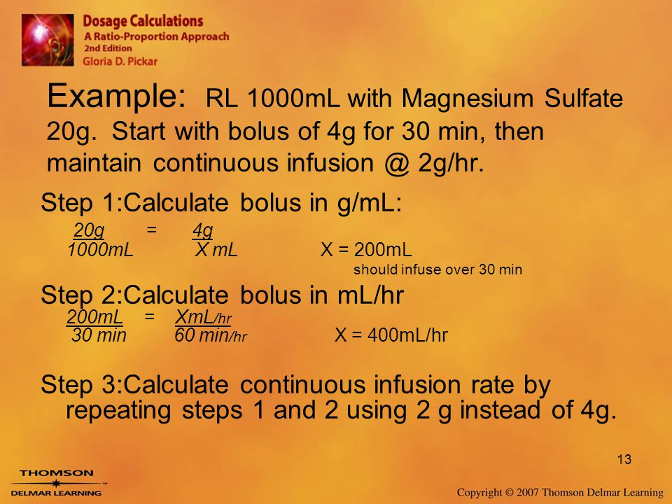 Example: RL 1000mL with Magnesium Sulfate 20g