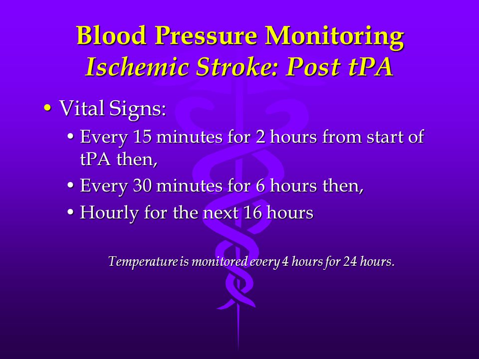 Blood Pressure Monitoring Ischemic Stroke: Post tPA