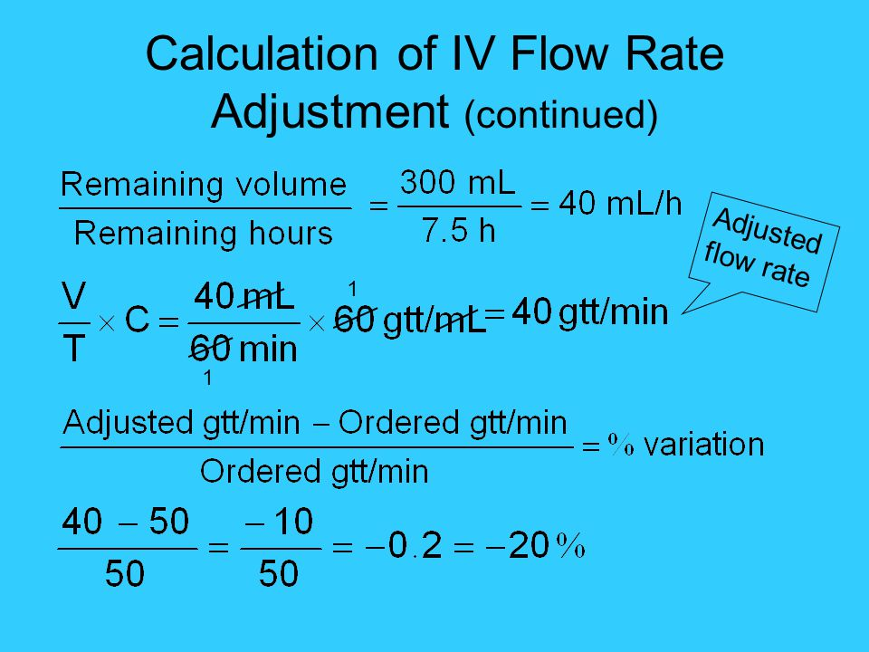 Calculation of IV Flow Rate Adjustment (continued)