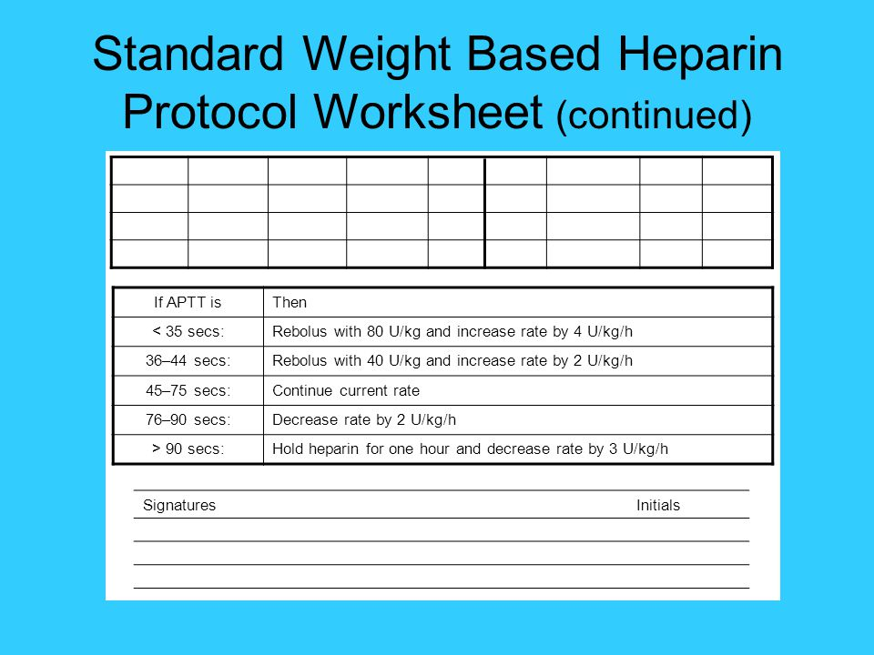 Standard Weight Based Heparin Protocol Worksheet (continued)