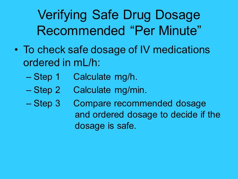 Verifying Safe Drug Dosage Recommended Per Minute