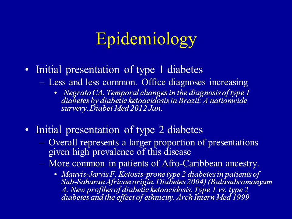 descriptive epidemiology type 2 diabetes Compared with type 1 diabetes, there is little information available on the epidemiology of type 2 diabetes in children this is, at least in part, because of the fact that the symptoms and diagnosis of type 2 diabetes are less straightforward than those of type 1 diabetes.
