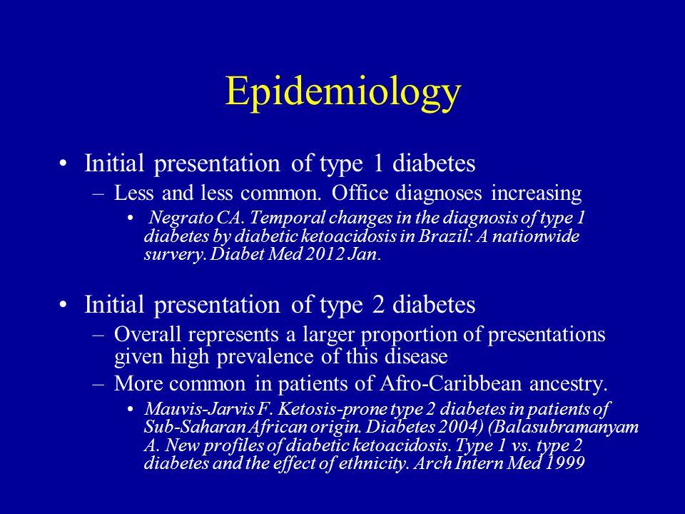 Epidemiology Initial presentation of type 1 diabetes