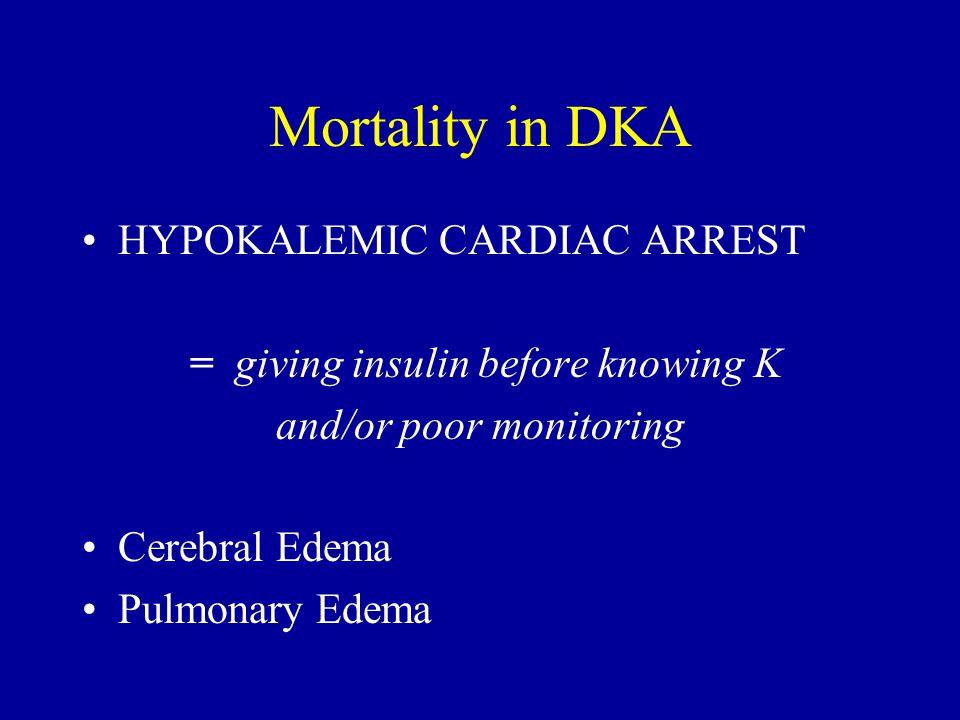 Mortality in DKA HYPOKALEMIC CARDIAC ARREST