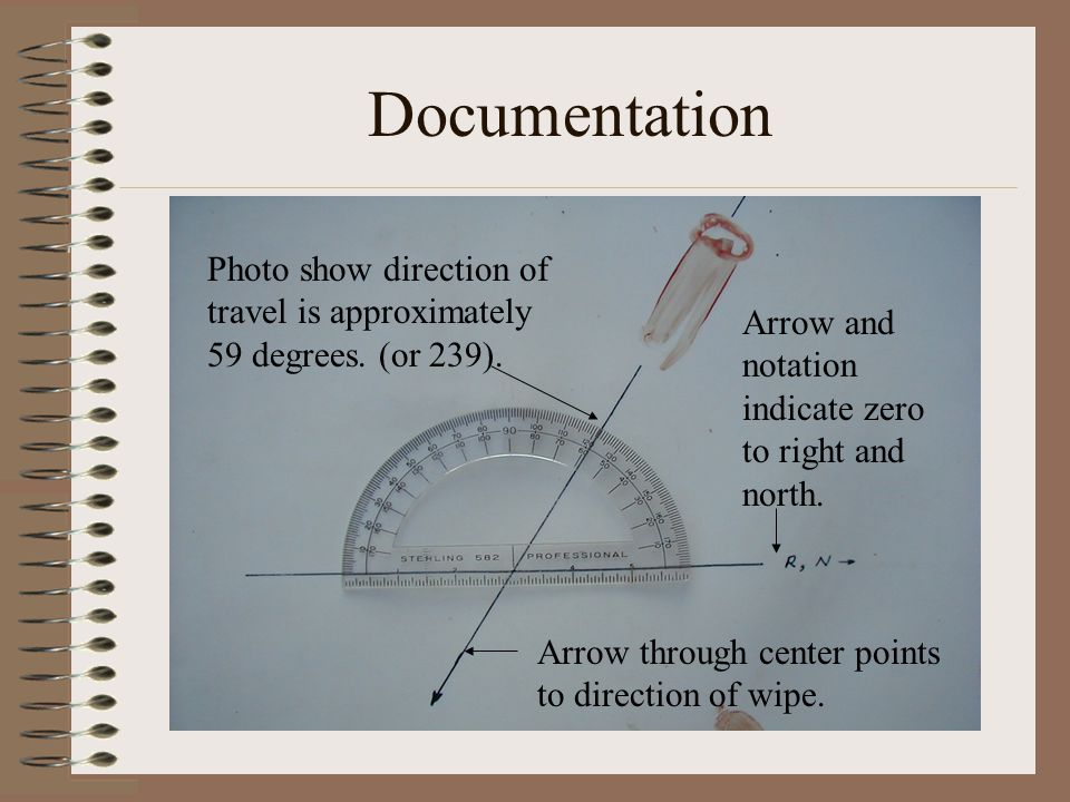 Documentation Photo show direction of travel is approximately 59 degrees. (or 239). Arrow and notation indicate zero to right and north.