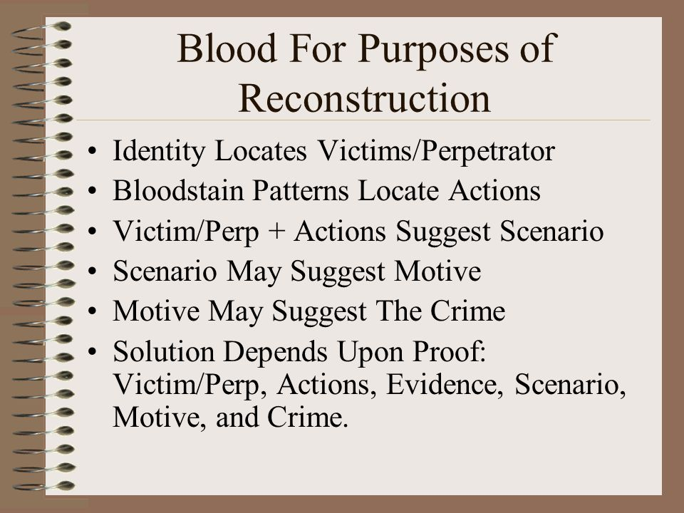 Blood For Purposes of Reconstruction