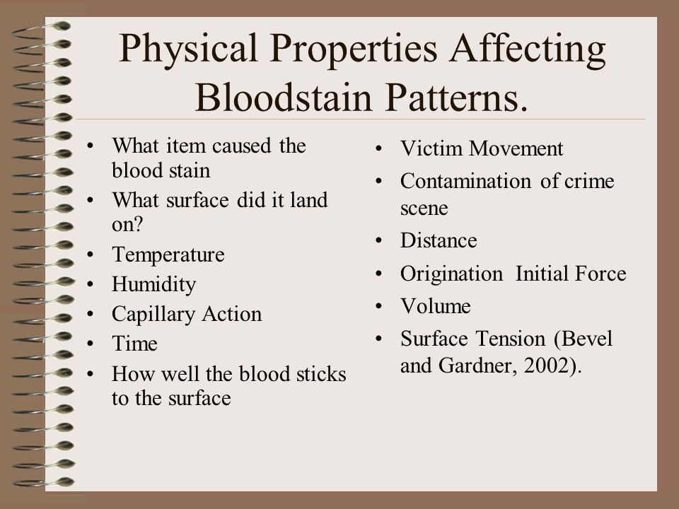Physical Properties Affecting Bloodstain Patterns.