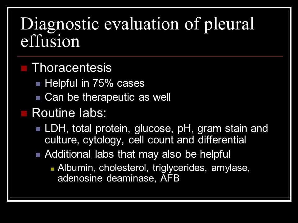 Diagnostic evaluation of pleural effusion