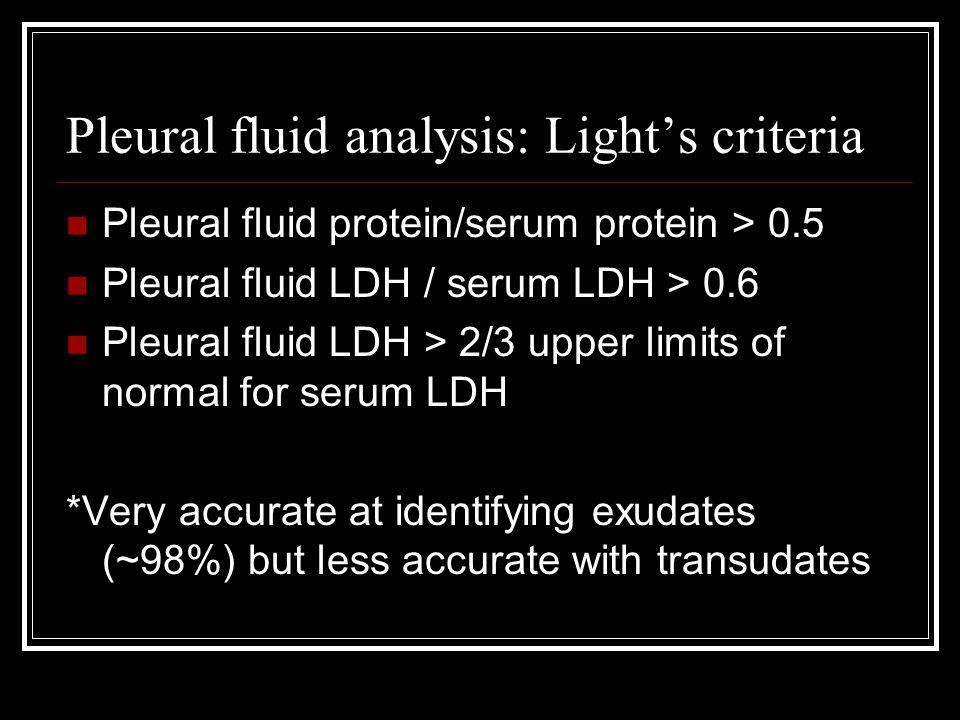 Pleural fluid analysis: Light's criteria