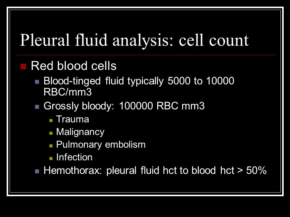 Pleural fluid analysis: cell count