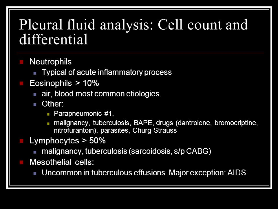 Pleural fluid analysis: Cell count and differential