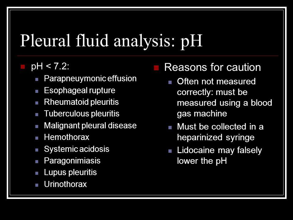 Pleural fluid analysis: pH
