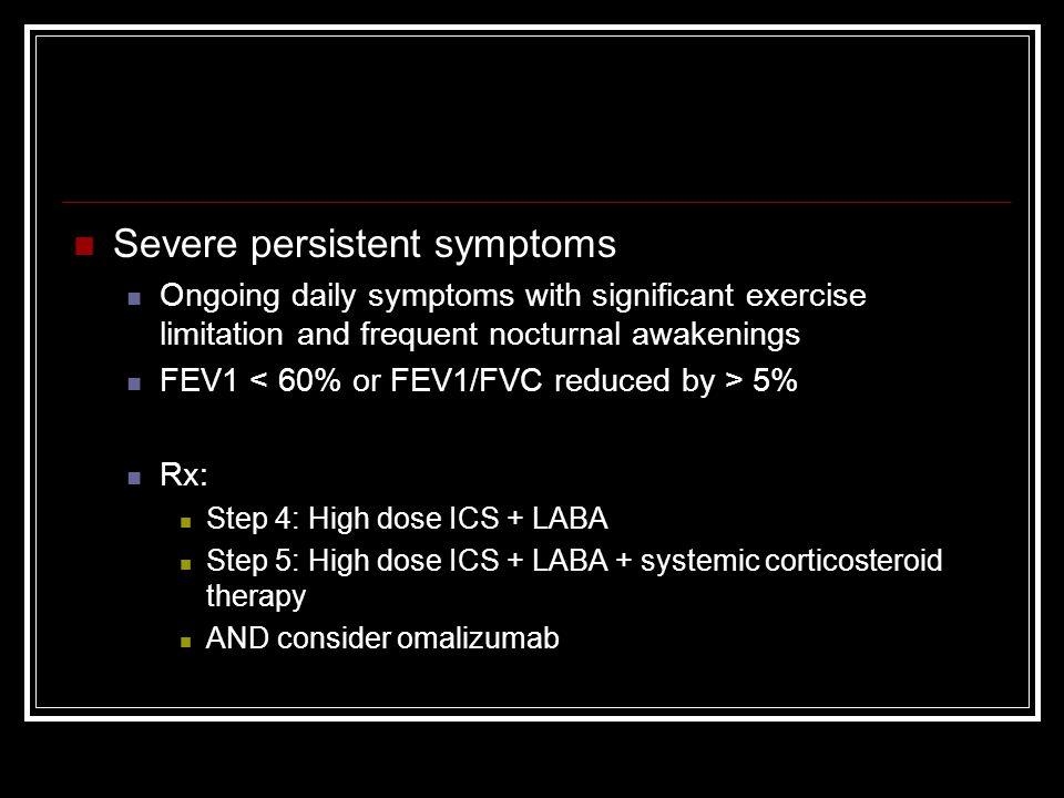 Severe persistent symptoms