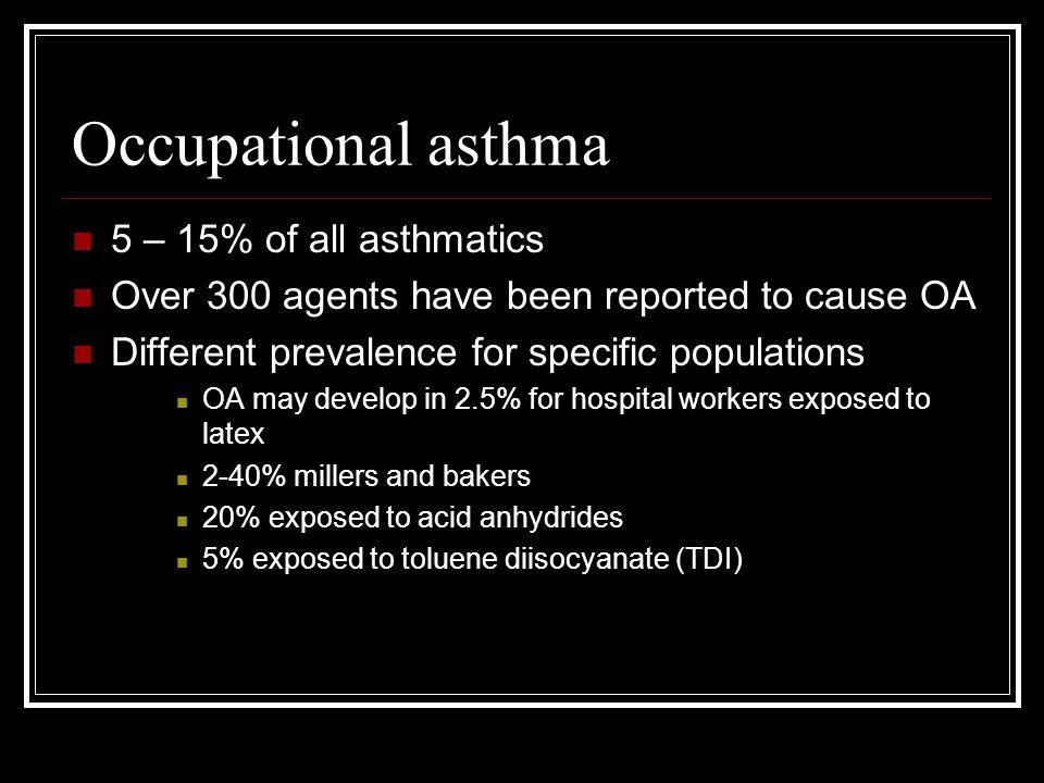 Occupational asthma 5 – 15% of all asthmatics