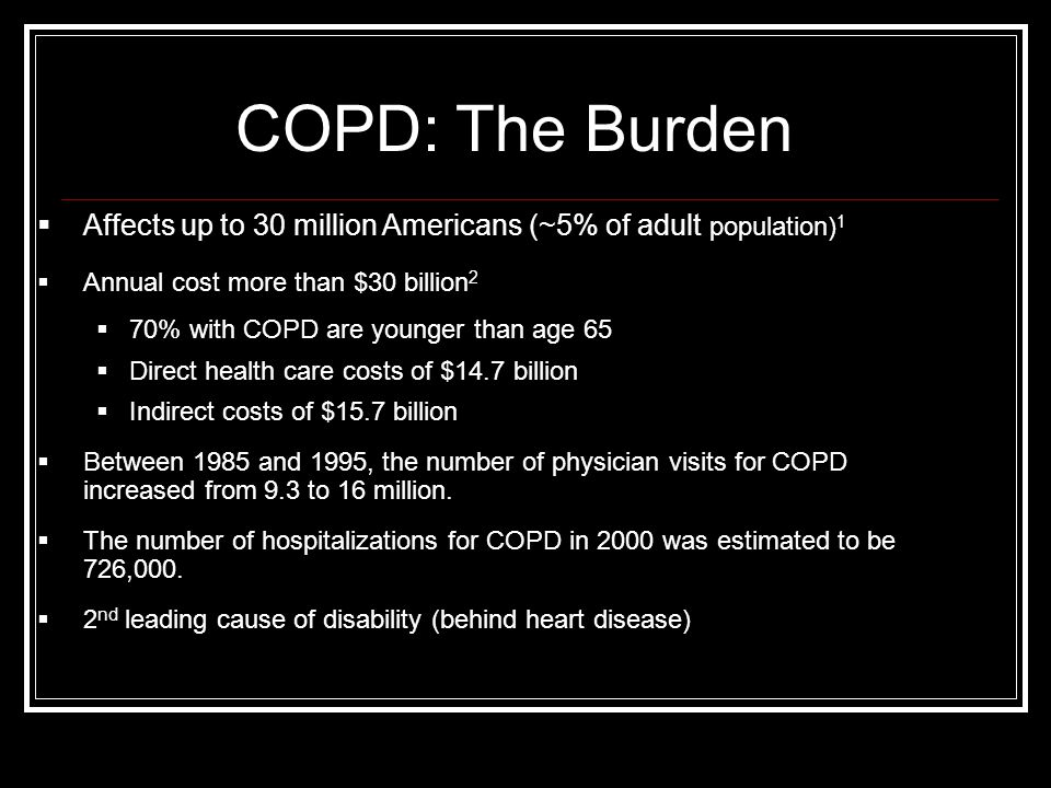 COPD: The Burden Affects up to 30 million Americans (~5% of adult population)1. Annual cost more than $30 billion2.