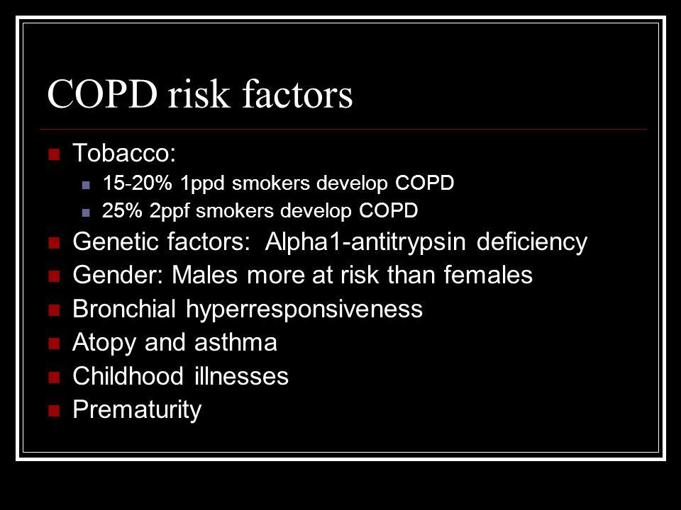 COPD risk factors Tobacco: