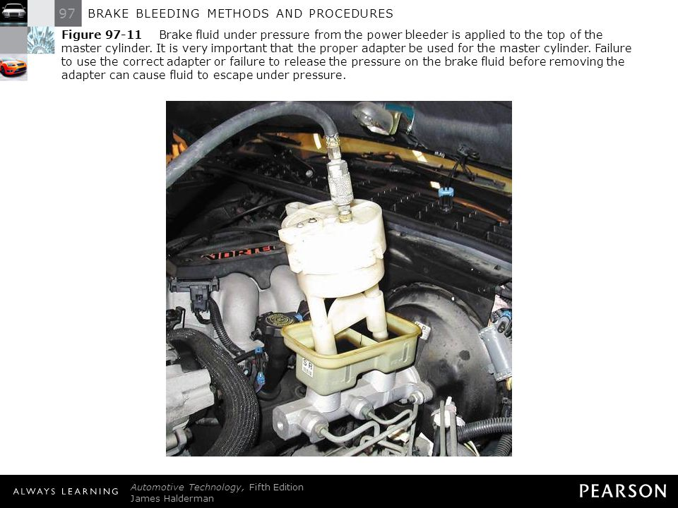 Figure 97-11 Brake fluid under pressure from the power bleeder is applied to the top of the master cylinder. It is very important that the proper adapter be used for the master cylinder. Failure to use the correct adapter or failure to release the pressure on the brake fluid before removing the adapter can cause fluid to escape under pressure.