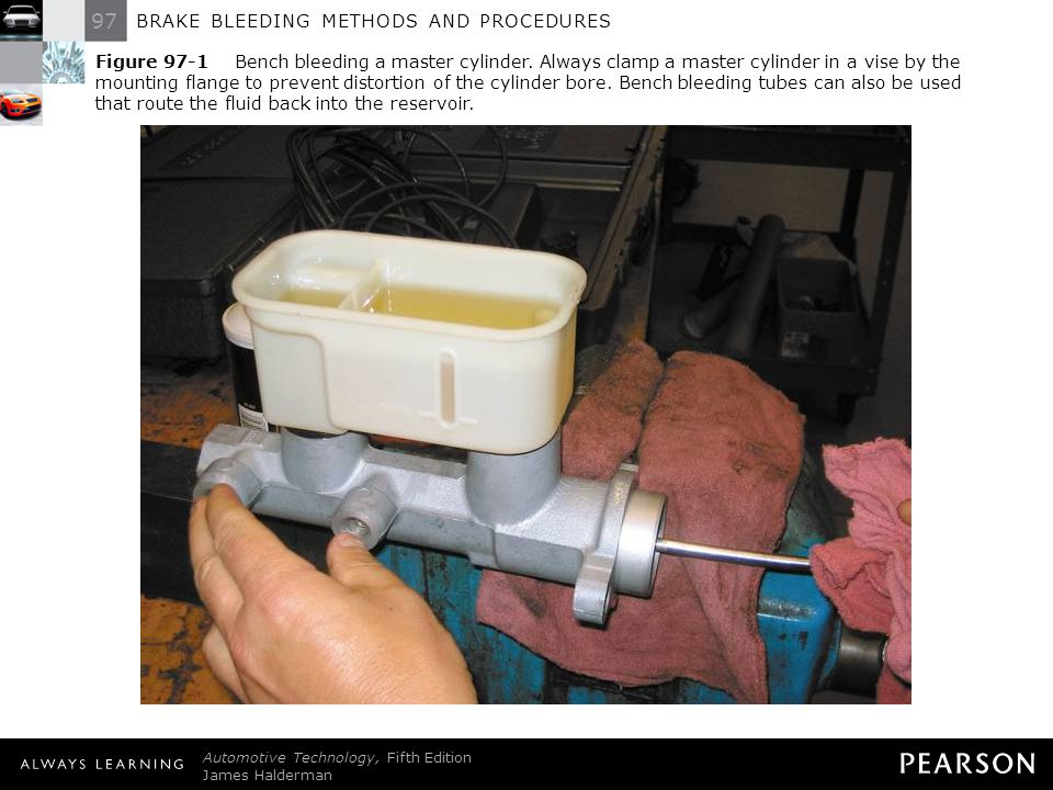 Figure 97-1 Bench bleeding a master cylinder