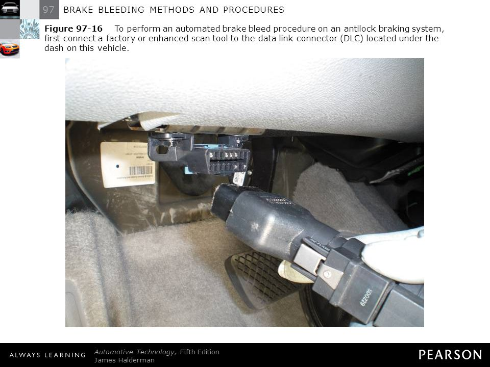 Figure 97-16 To perform an automated brake bleed procedure on an antilock braking system, first connect a factory or enhanced scan tool to the data link connector (DLC) located under the dash on this vehicle.
