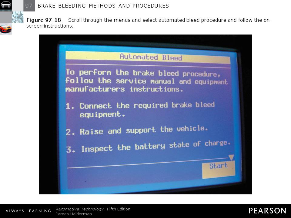 Figure 97-18 Scroll through the menus and select automated bleed procedure and follow the on-screen instructions.