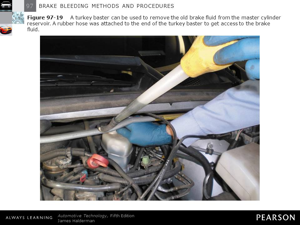 Figure 97-19 A turkey baster can be used to remove the old brake fluid from the master cylinder reservoir. A rubber hose was attached to the end of the turkey baster to get access to the brake fluid.