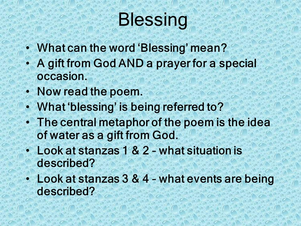 Blessing What can the word 'Blessing' mean