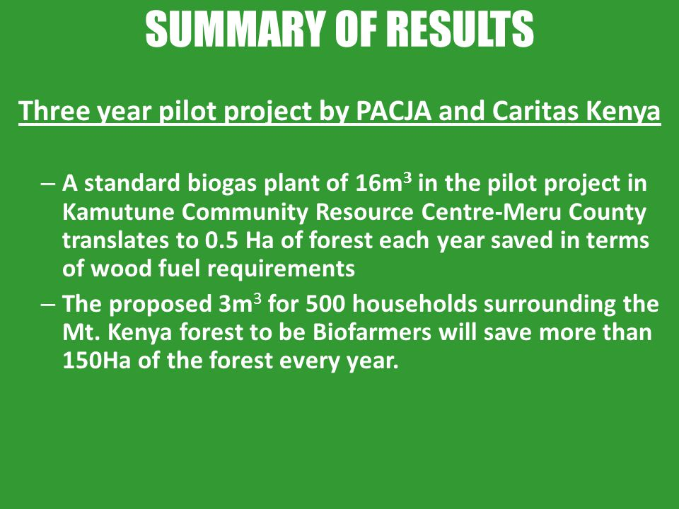 Three year pilot project by PACJA and Caritas Kenya