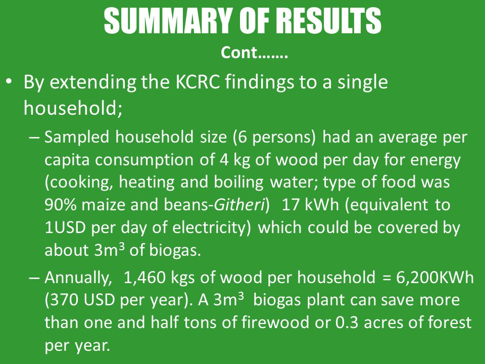 SUMMARY OF RESULTS Cont……. By extending the KCRC findings to a single household;