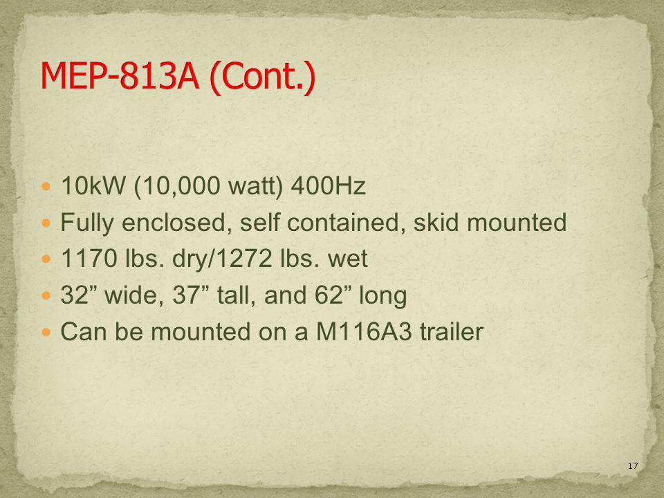 MEP-813A (Cont.) 10kW (10,000 watt) 400Hz