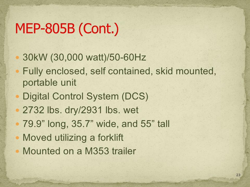MEP-805B (Cont.) 30kW (30,000 watt)/50-60Hz
