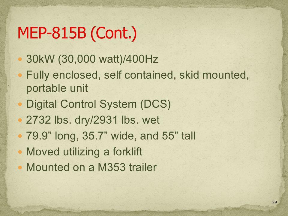 MEP-815B (Cont.) 30kW (30,000 watt)/400Hz