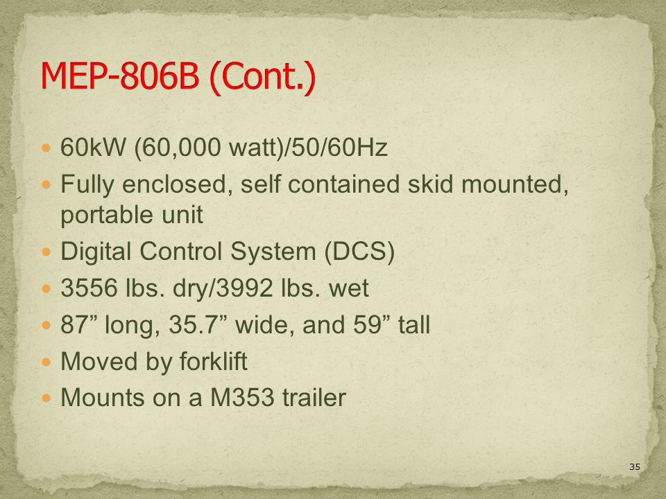 MEP-806B (Cont.) 60kW (60,000 watt)/50/60Hz