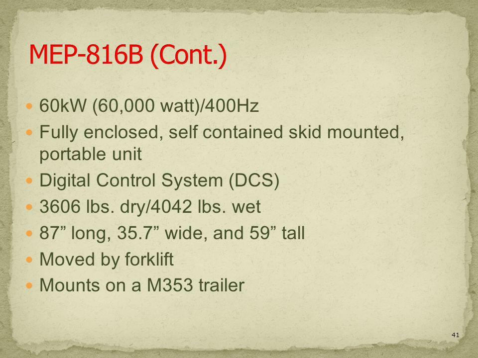 MEP-816B (Cont.) 60kW (60,000 watt)/400Hz