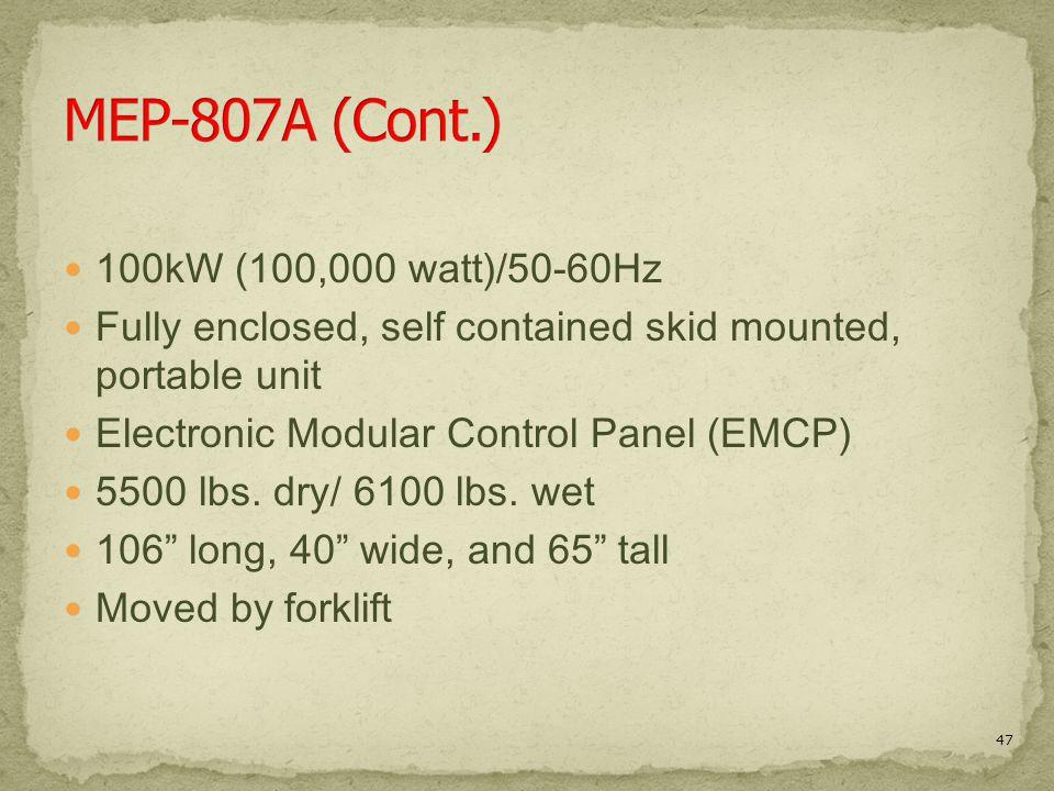MEP-807A (Cont.) 100kW (100,000 watt)/50-60Hz