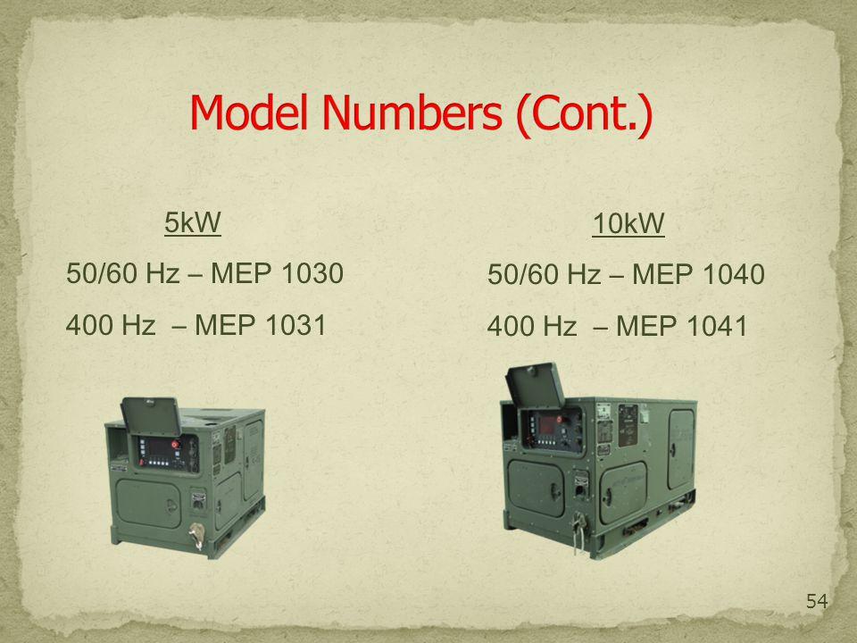 Model Numbers (Cont.) 5kW 10kW 50/60 Hz – MEP 1030 50/60 Hz – MEP 1040
