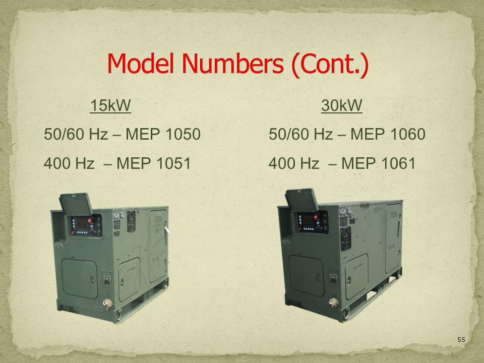 Model Numbers (Cont.) 15kW 50/60 Hz – MEP 1050 400 Hz – MEP 1051 30kW