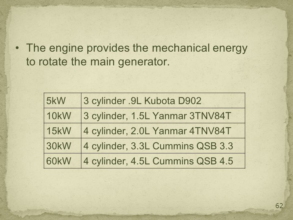 The engine provides the mechanical energy to rotate the main generator.