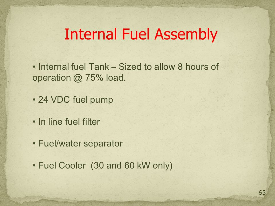 Internal fuel assembly