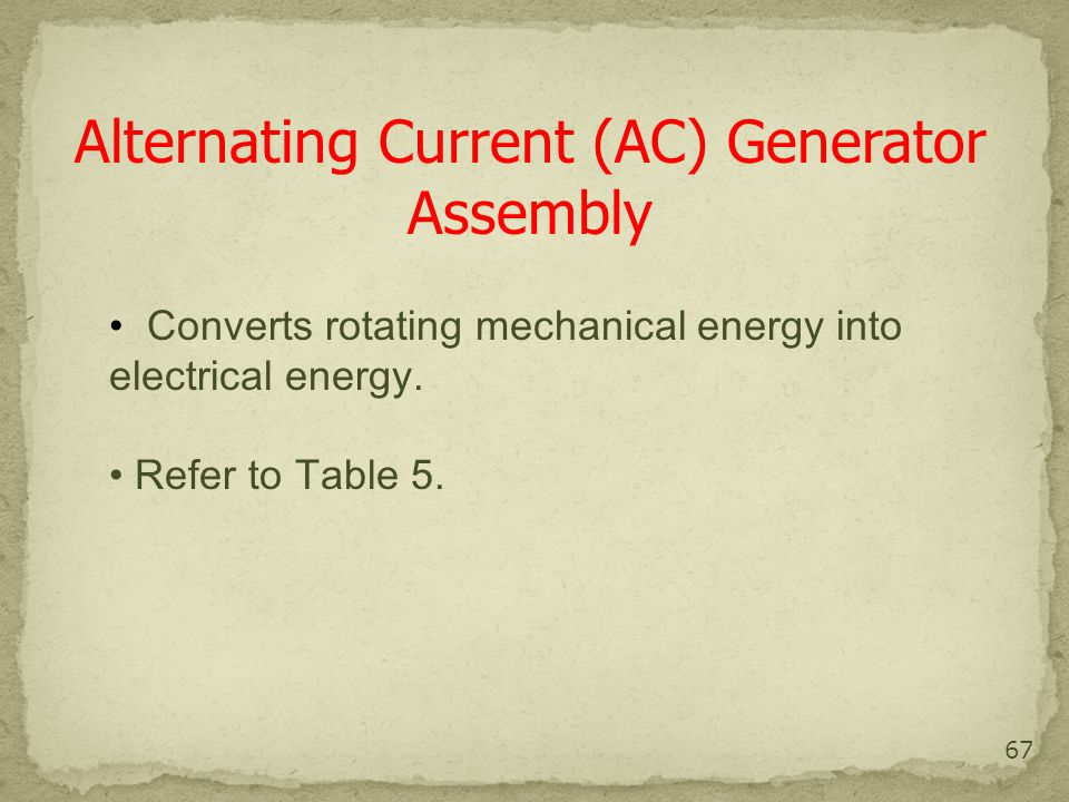 Alternating Current (AC) Generator Assembly