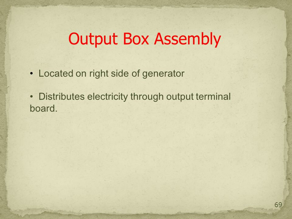 Output Box Assembly Located on right side of generator