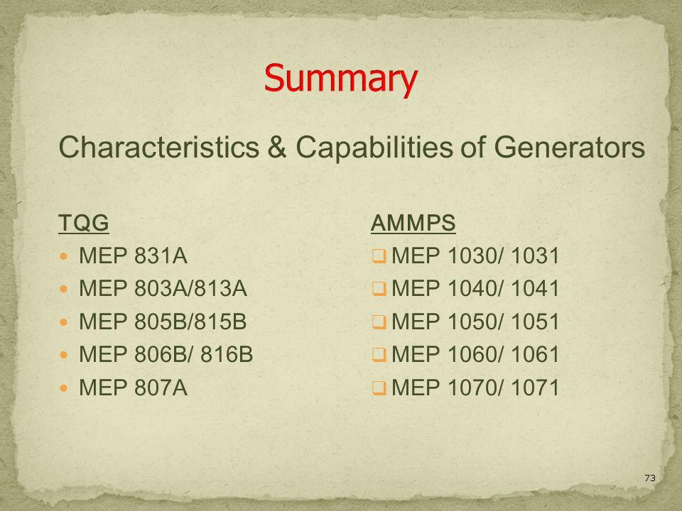 Summary Characteristics & Capabilities of Generators TQG MEP 831A