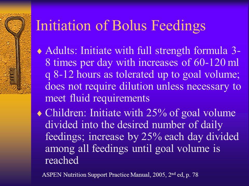 Initiation of Bolus Feedings