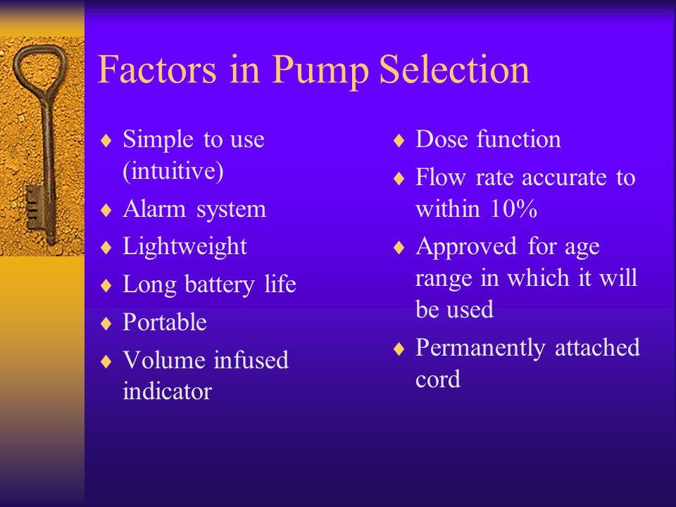 Factors in Pump Selection