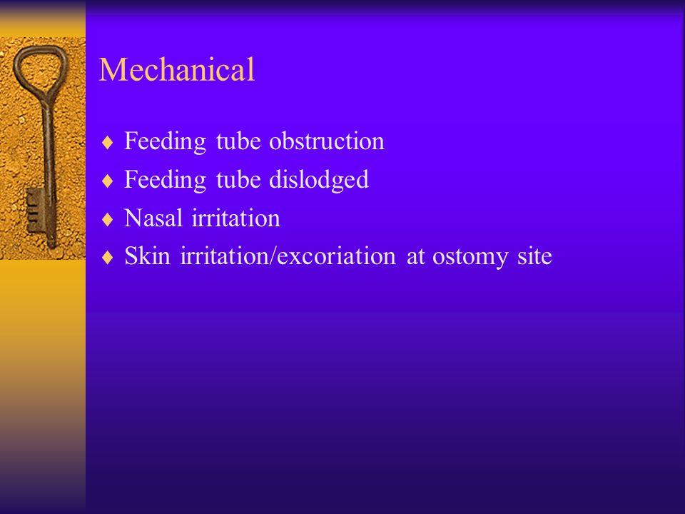 Mechanical Feeding tube obstruction Feeding tube dislodged